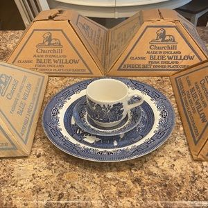 Churchill Blue Willow dishes-5 sets